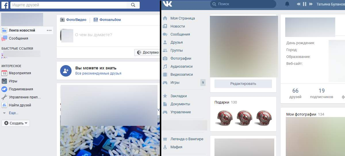 FaceBook and VK